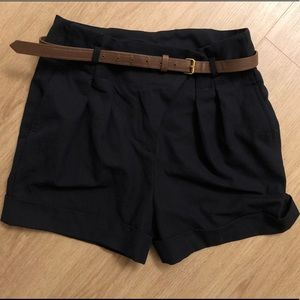ZARA Navy Paperbag High Waisted Shorts with Belt